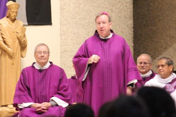 Bishop McClory celebrating Mass at St. Thomas More