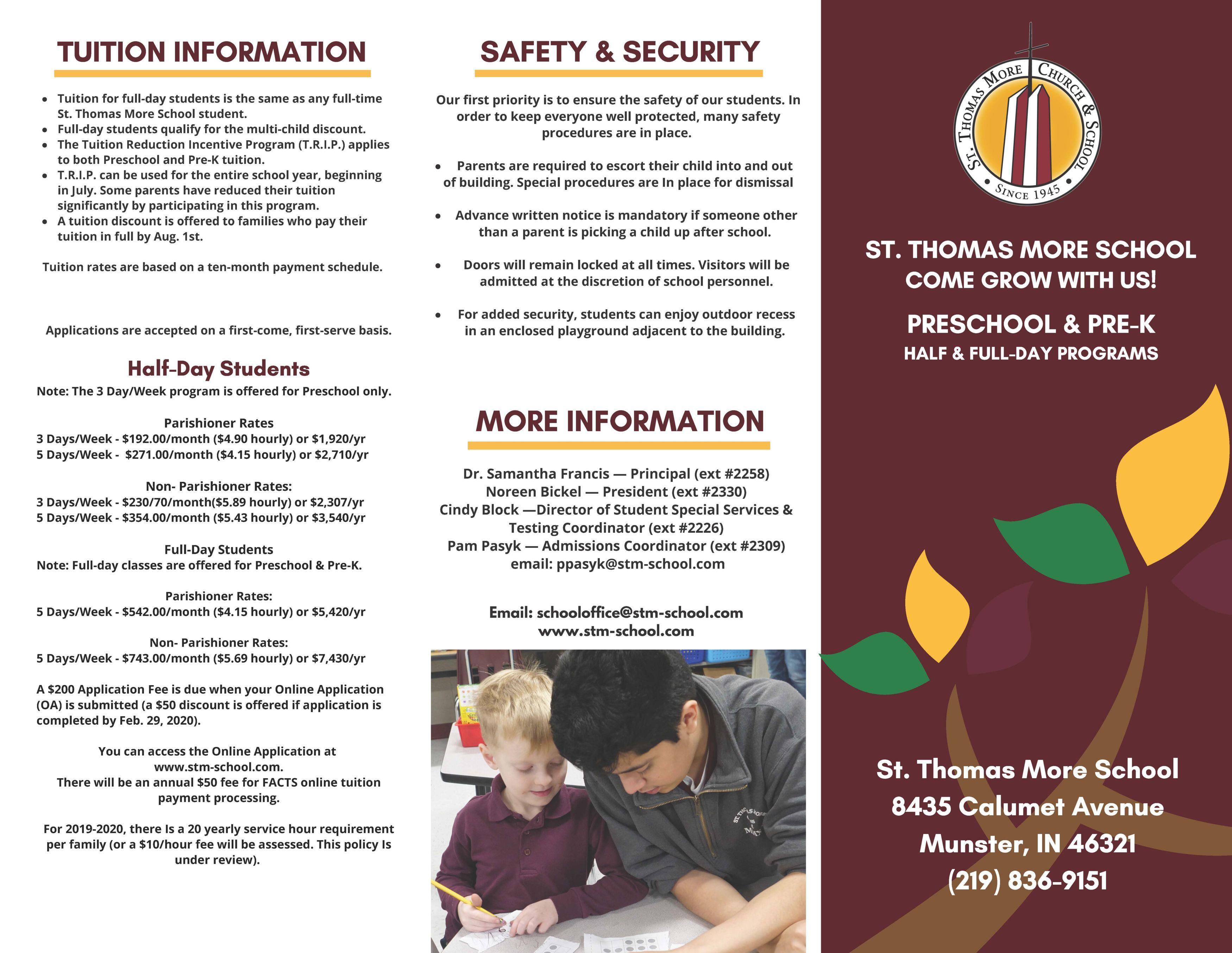 Preschool and Pre-K Brochure Page 1