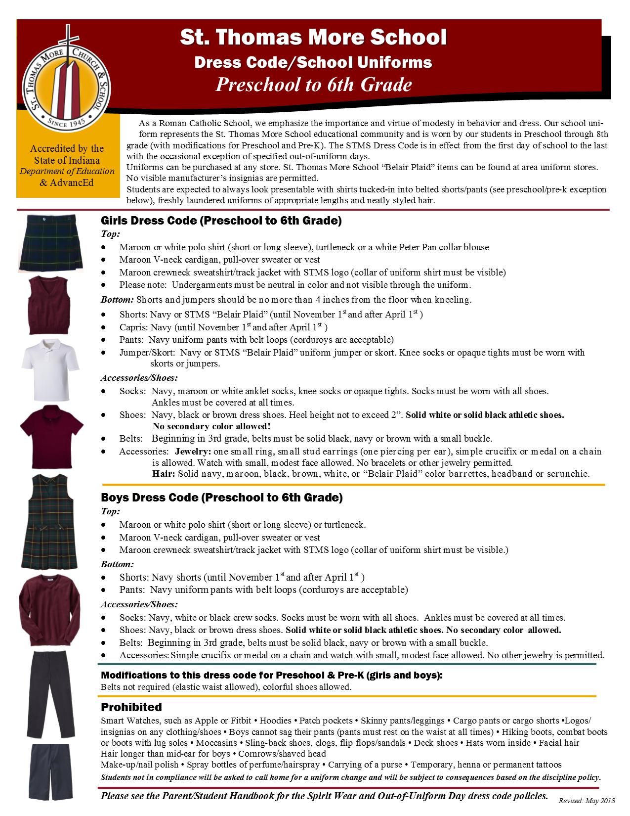 Uniform Policy Preschool thru 6th grade